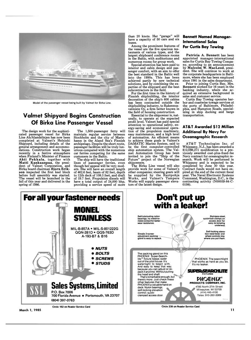 Maritime Reporter Magazine, page 9,  Mar 1985