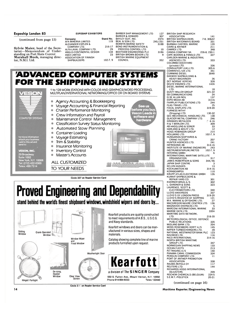 Maritime Reporter Magazine, page 12,  Mar 1985