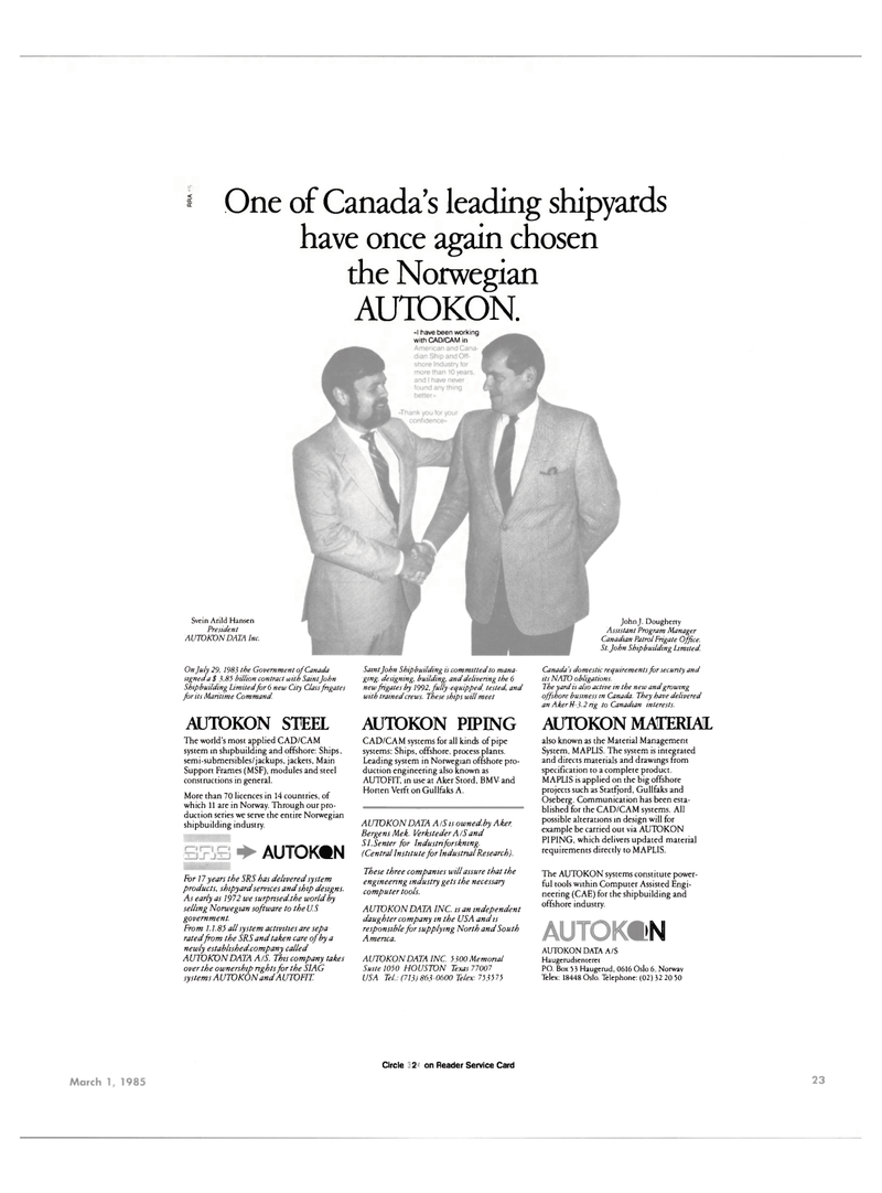 Maritime Reporter Magazine, page 21,  Mar 1985 North America