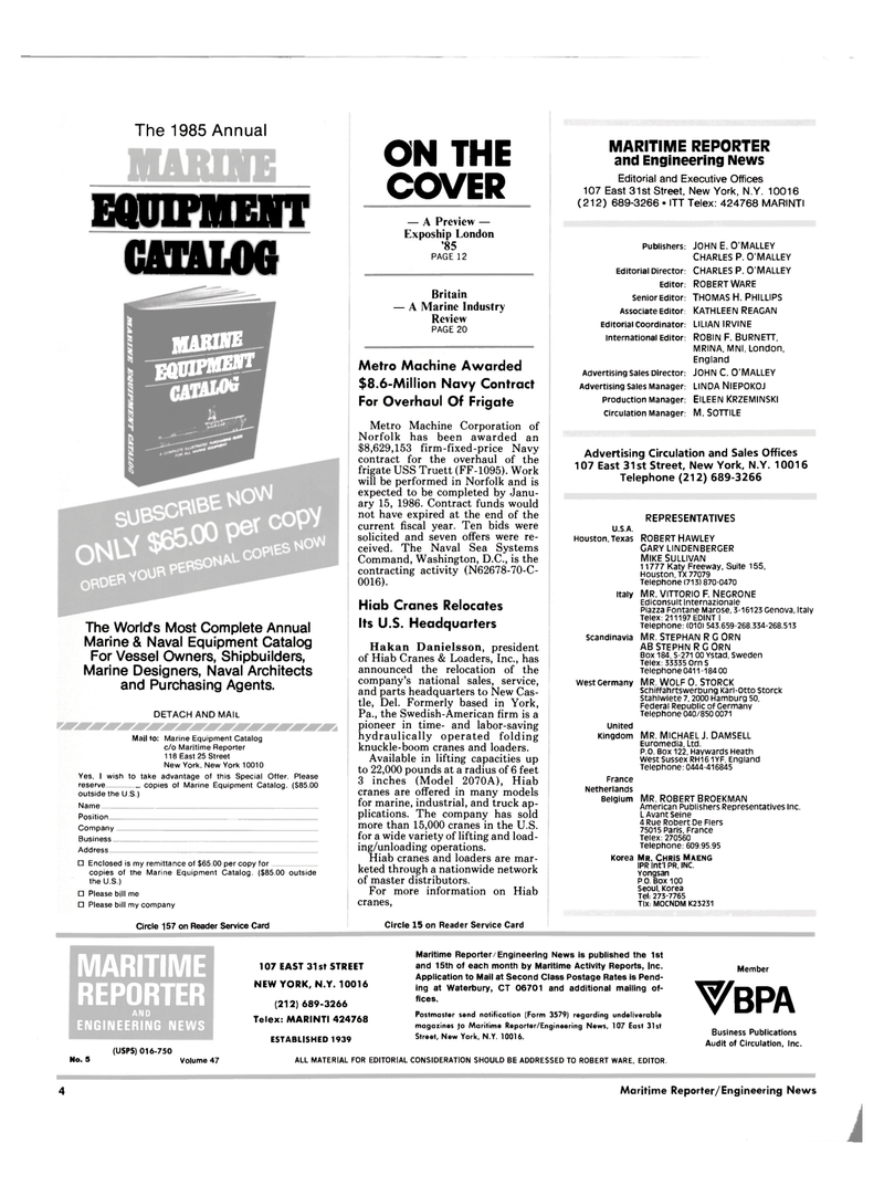 Maritime Reporter Magazine, page 2,  Mar 1985 Pennsylvania