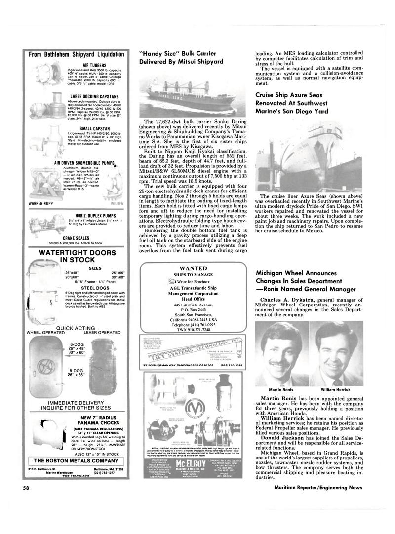 Maritime Reporter Magazine, page 54,  Mar 1985 William Herrick Martin Ronis
