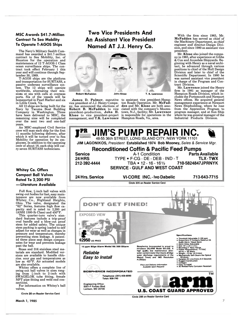 Maritime Reporter Magazine, page 5,  Mar 1985 Maryland
