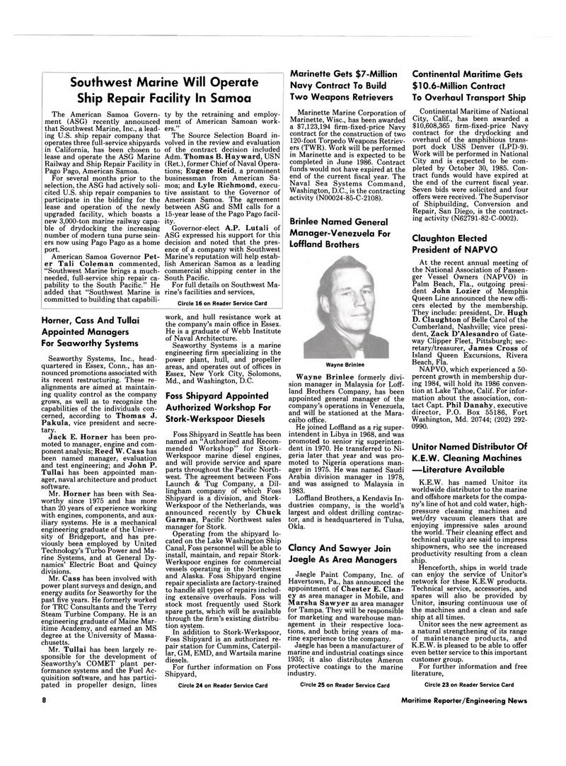 Maritime Reporter Magazine, page 6,  Mar 1985 Connecticut