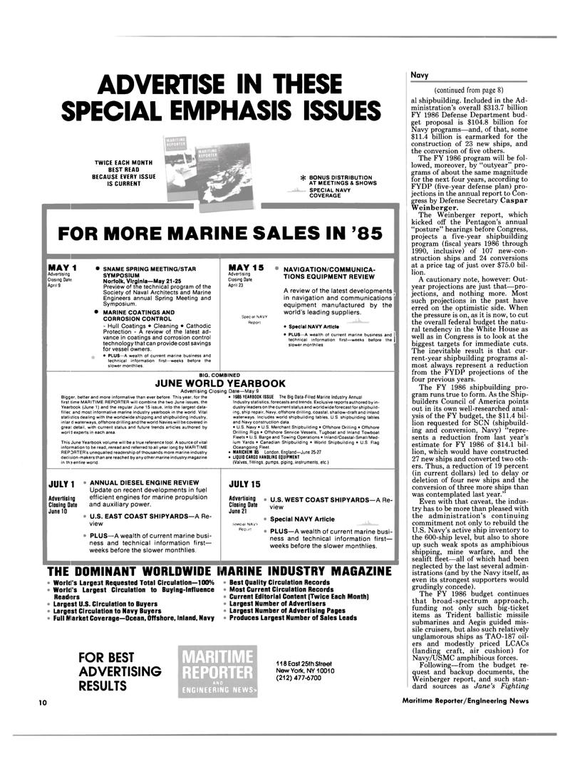 Maritime Reporter Magazine, page 8,  Mar 15, 1985 Caspar Weinberger