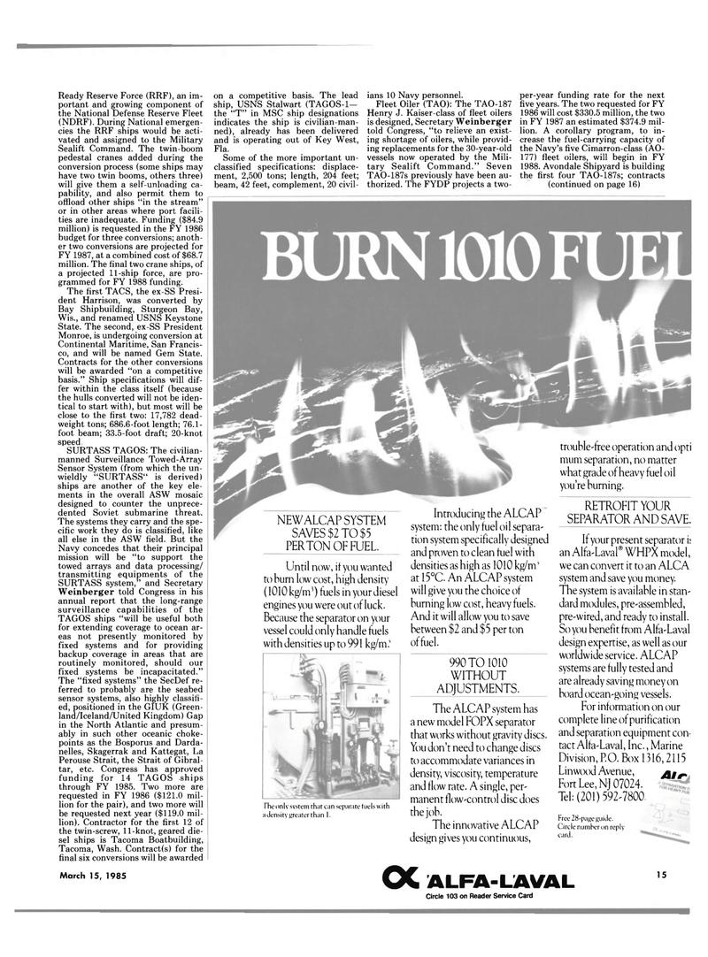 Maritime Reporter Magazine, page 13,  Mar 15, 1985 Florida