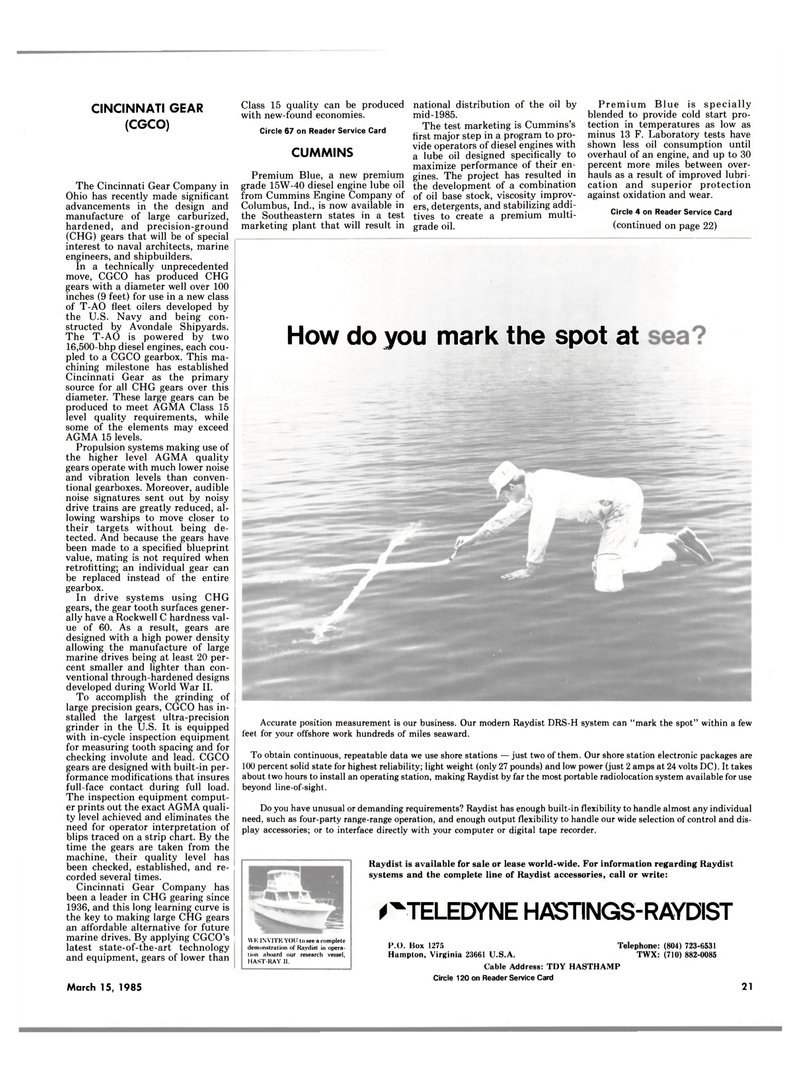 Maritime Reporter Magazine, page 19,  Mar 15, 1985 Raydist DRS-H