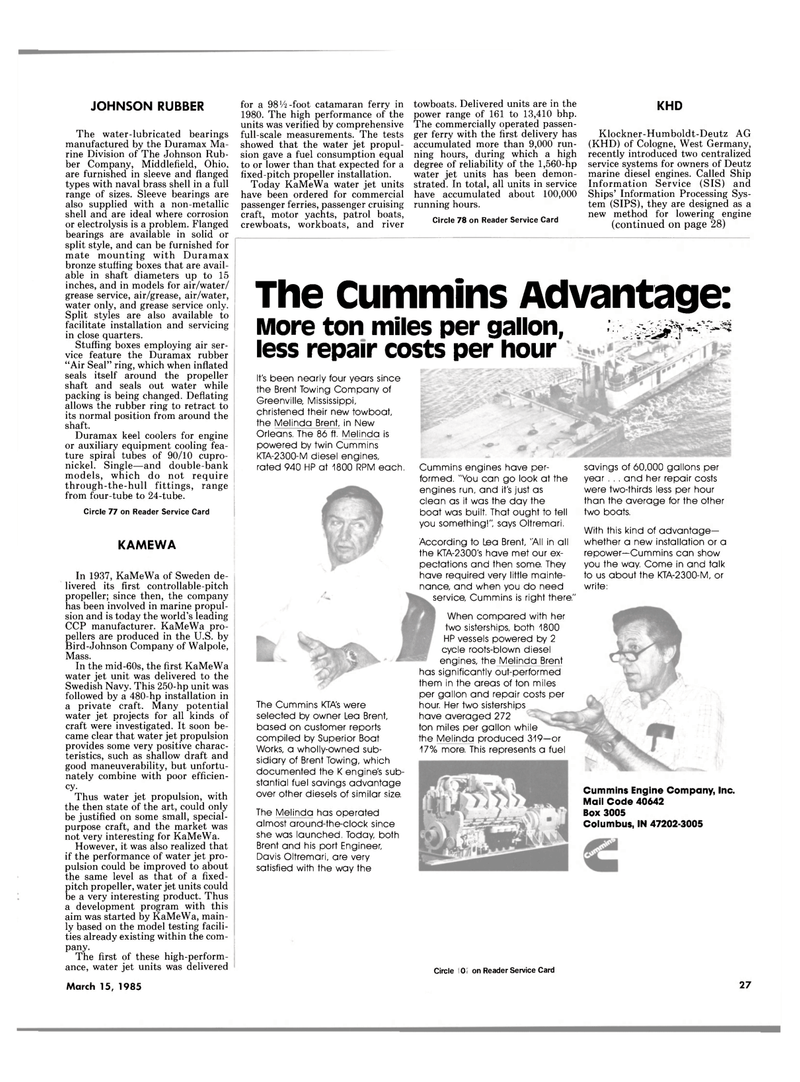 Maritime Reporter Magazine, page 25,  Mar 15, 1985 Indiana
