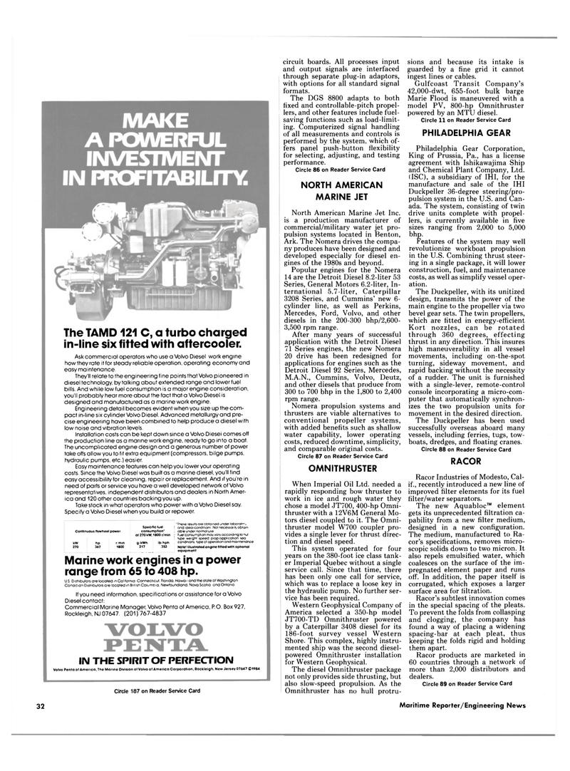 Maritime Reporter Magazine, page 30,  Mar 15, 1985 Ontario