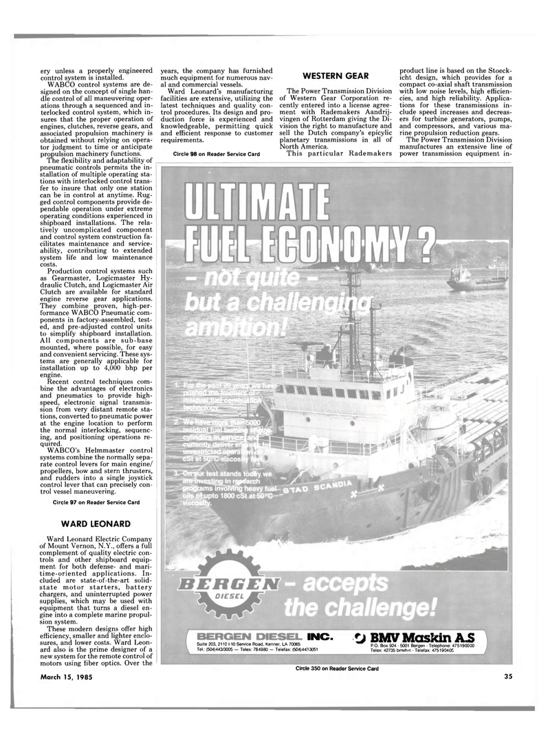 Maritime Reporter Magazine, page 33,  Mar 15, 1985 Power Transmission Division