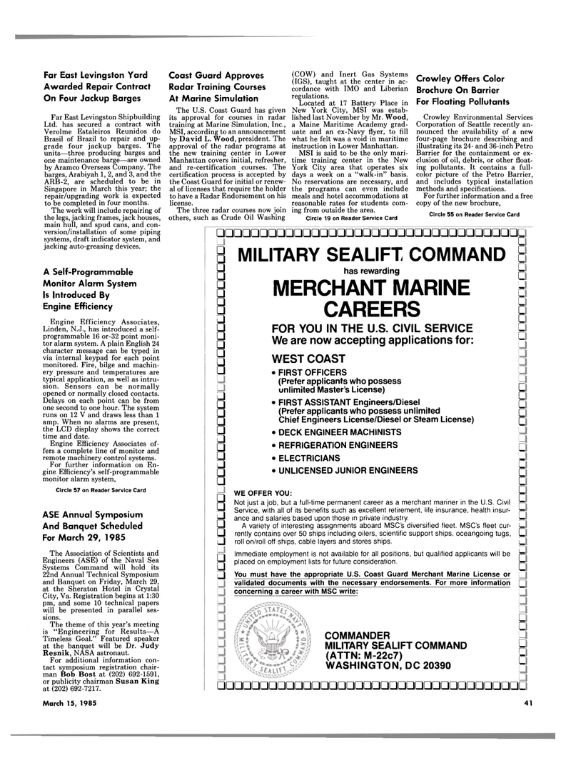 Maritime Reporter Magazine, page 39,  Mar 15, 1985 New Jersey