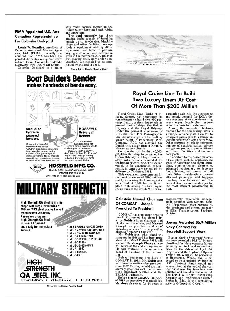 Maritime Reporter Magazine, page 8,  Sep 1985 Maryland