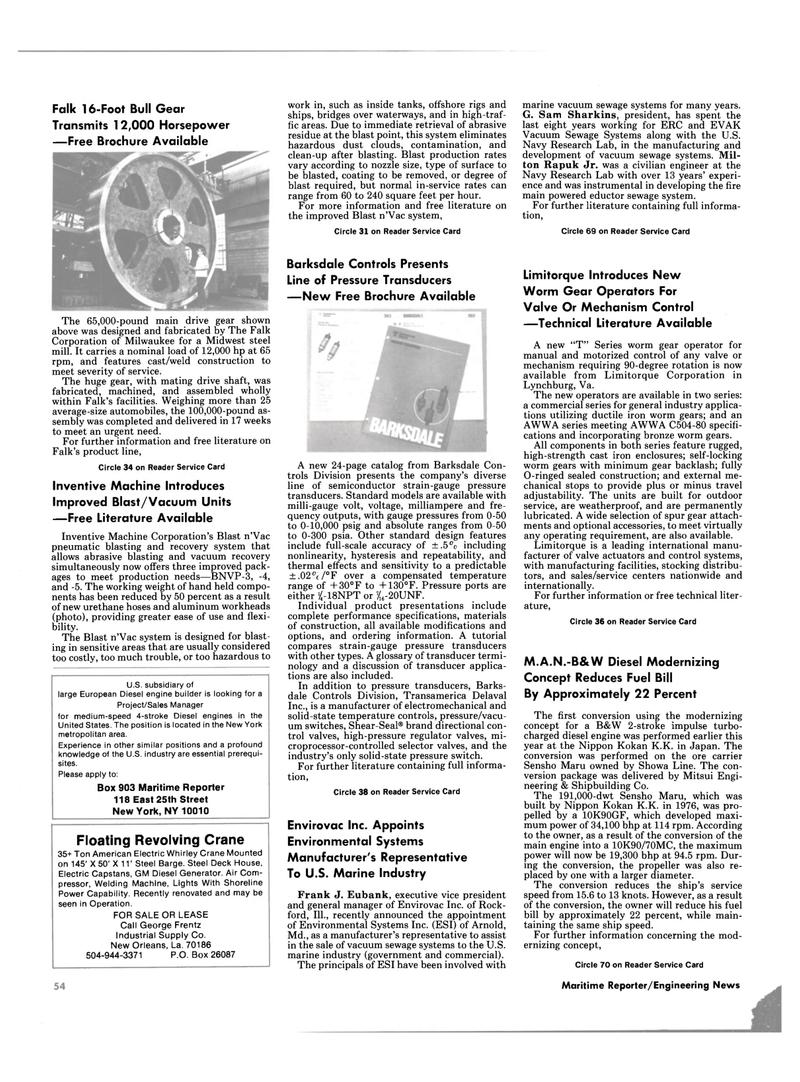 Maritime Reporter Magazine, page 52,  Sep 1985 New York