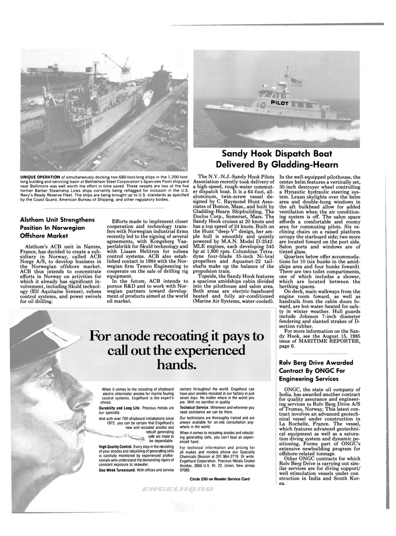 Maritime Reporter Magazine, page 18,  Sep 15, 1985 Sandy Hook Dispatch Boat Delivered