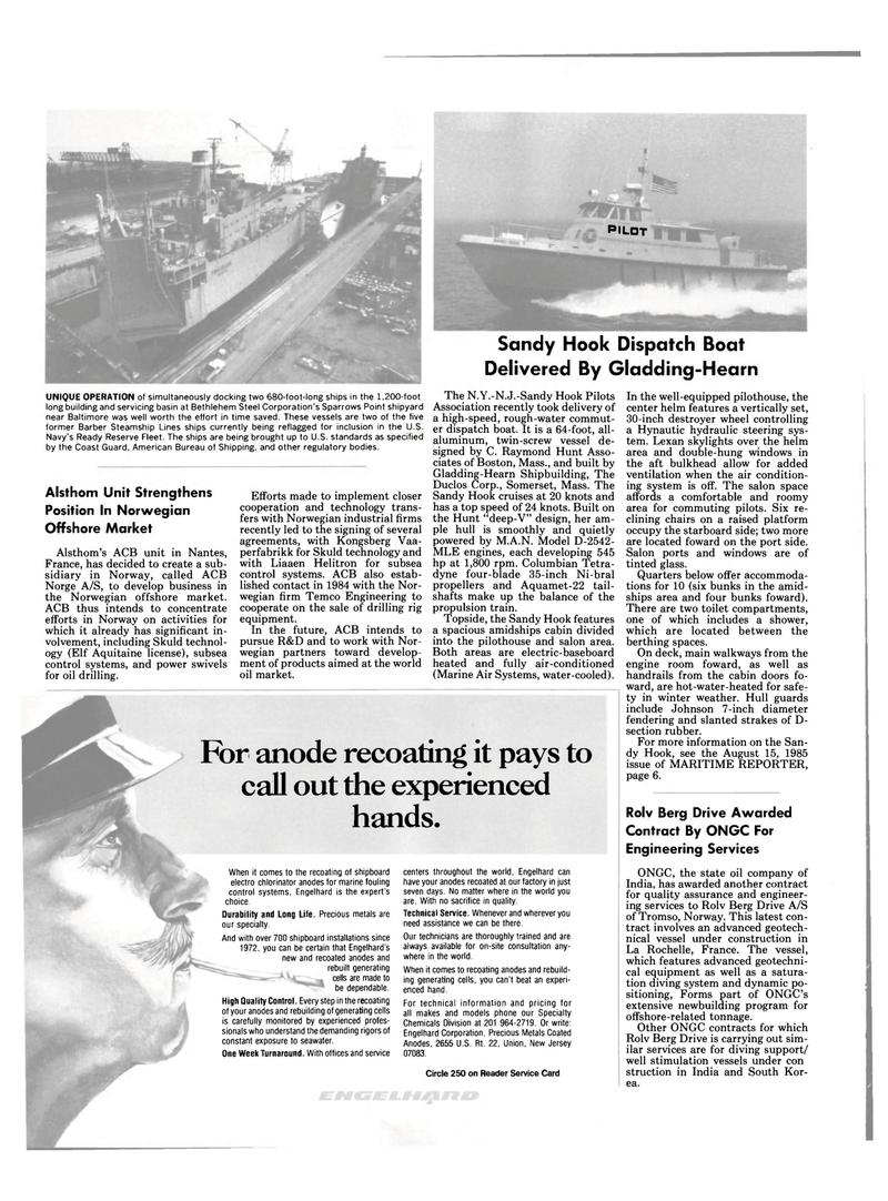 Maritime Reporter Magazine, page 18,  Sep 15, 1985 Sandy Hook Dispatch Boat Delivered