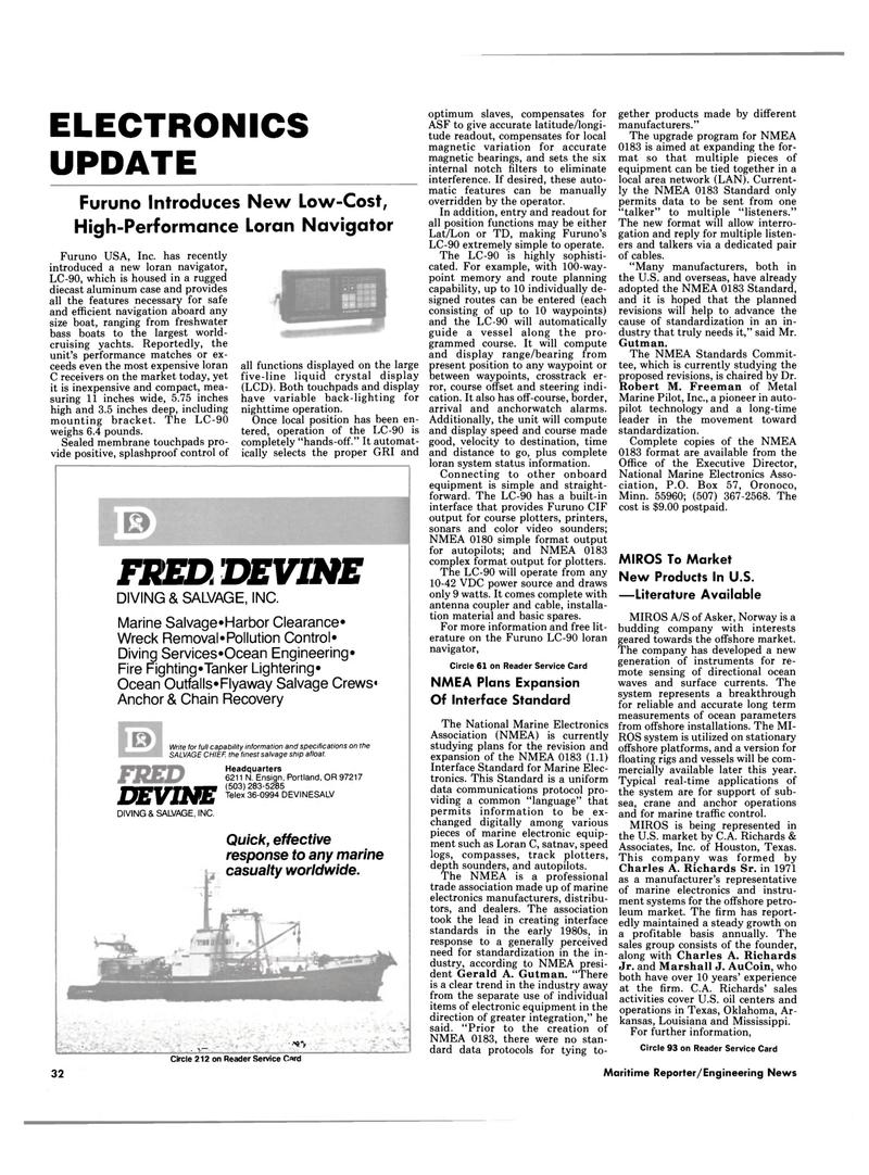 Maritime Reporter Magazine, page 28,  Sep 15, 1985 LAN