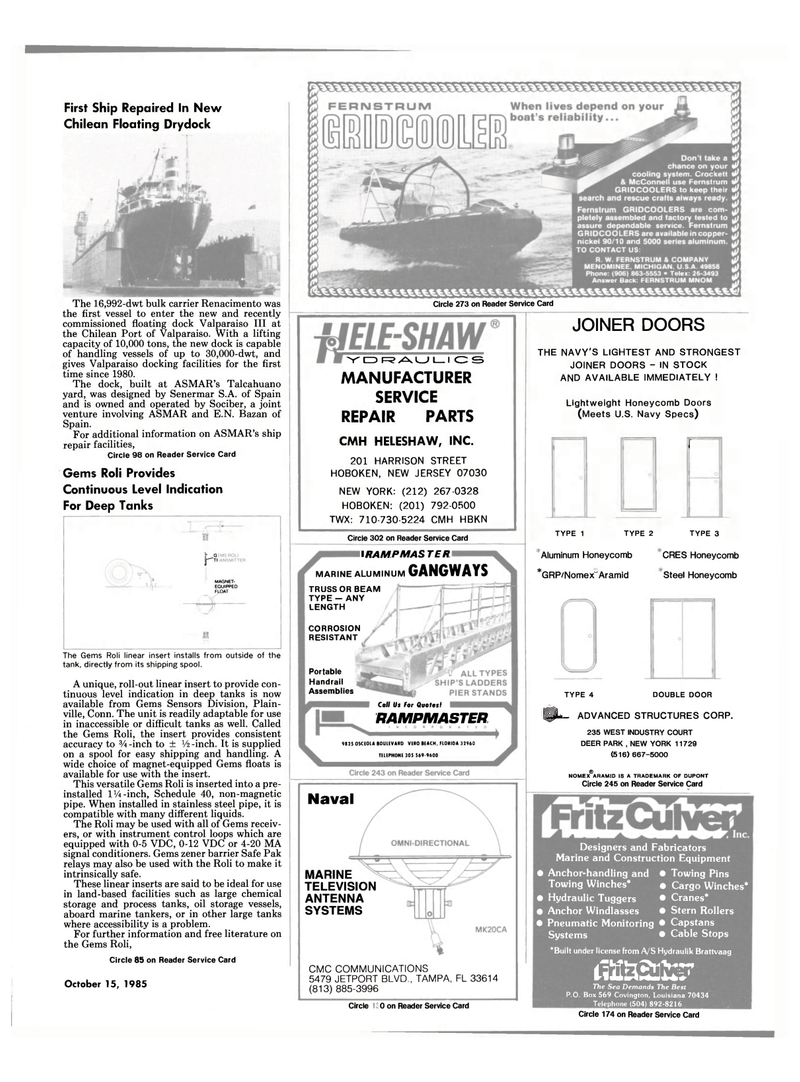 Maritime Reporter Magazine, page 19,  Oct 15, 1985 Connecticut