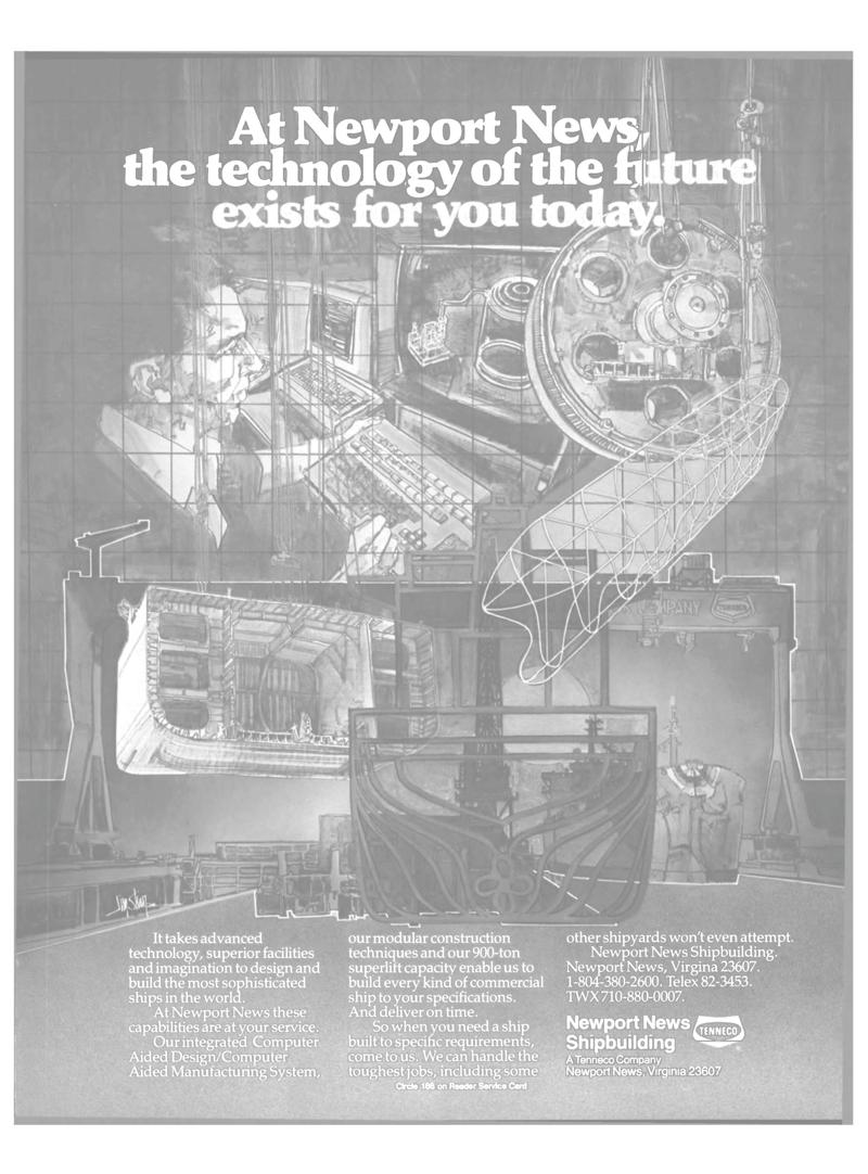Maritime Reporter Magazine, page 21,  Oct 15, 1985 Newport News shipbuilding