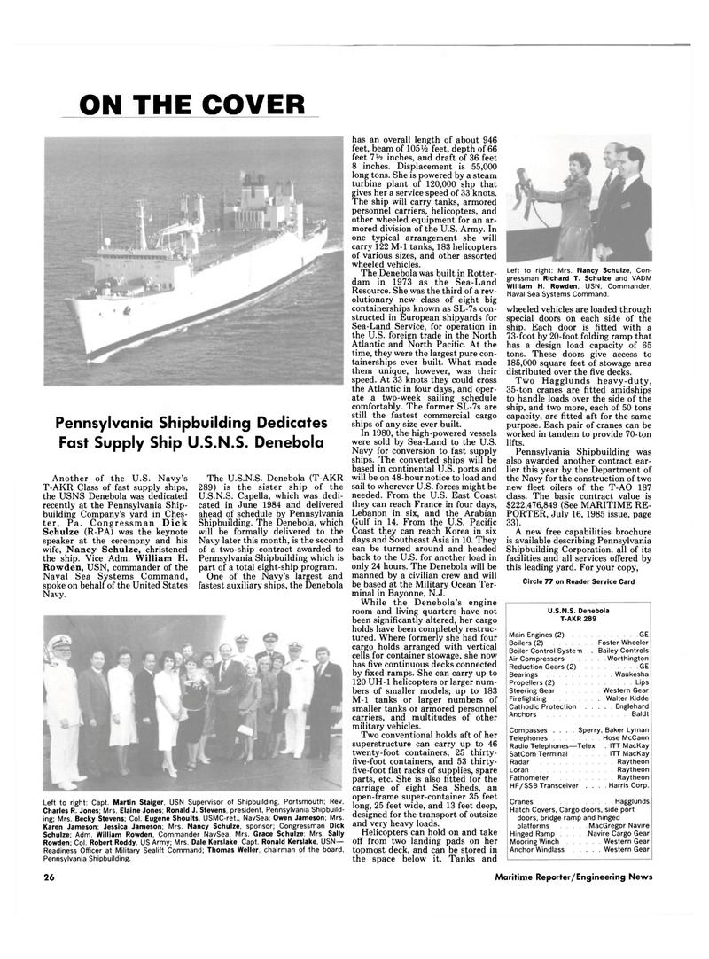 Maritime Reporter Magazine, page 24,  Oct 15, 1985 US East Coast