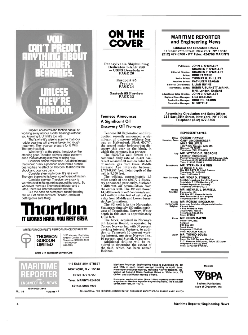 Maritime Reporter Magazine, page 2,  Oct 15, 1985 Connecticut