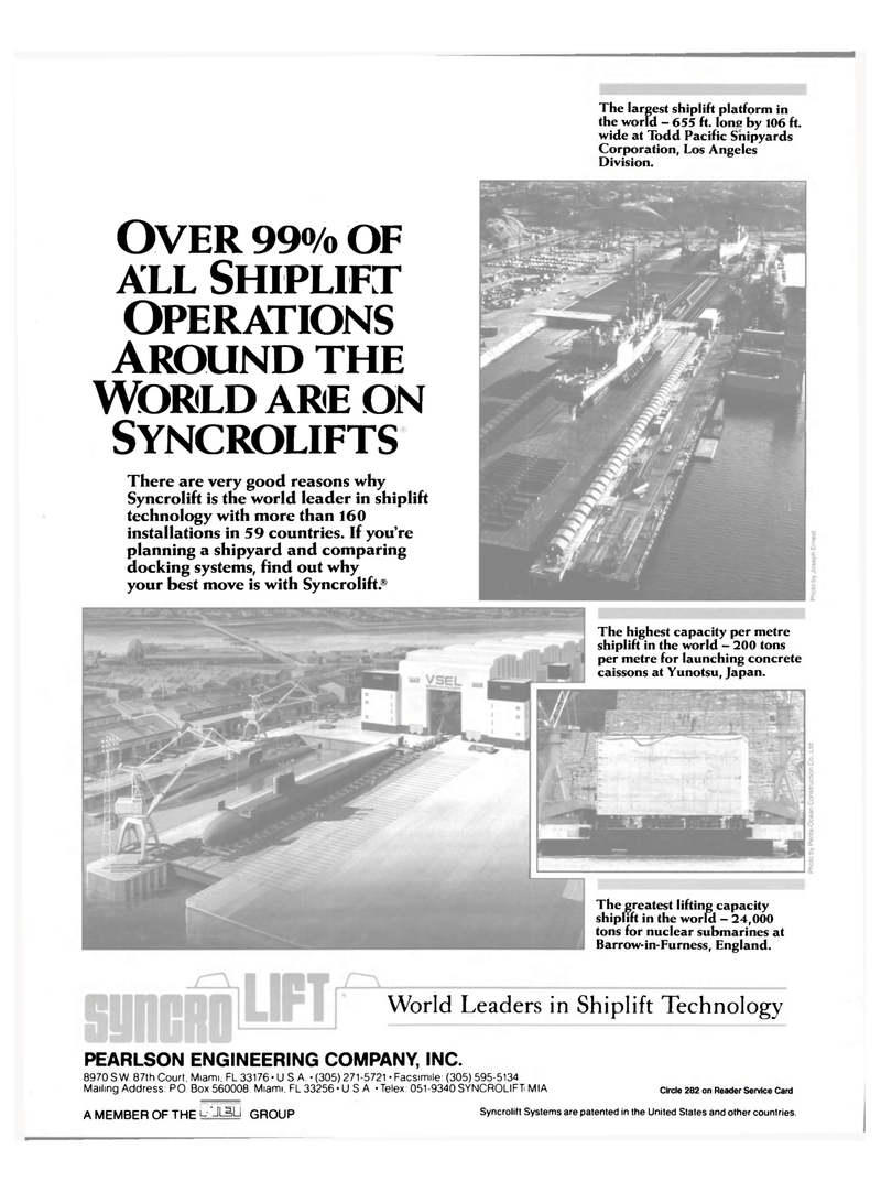 Maritime Reporter Magazine, page 4th Cover,  Oct 15, 1985 shiplift technology