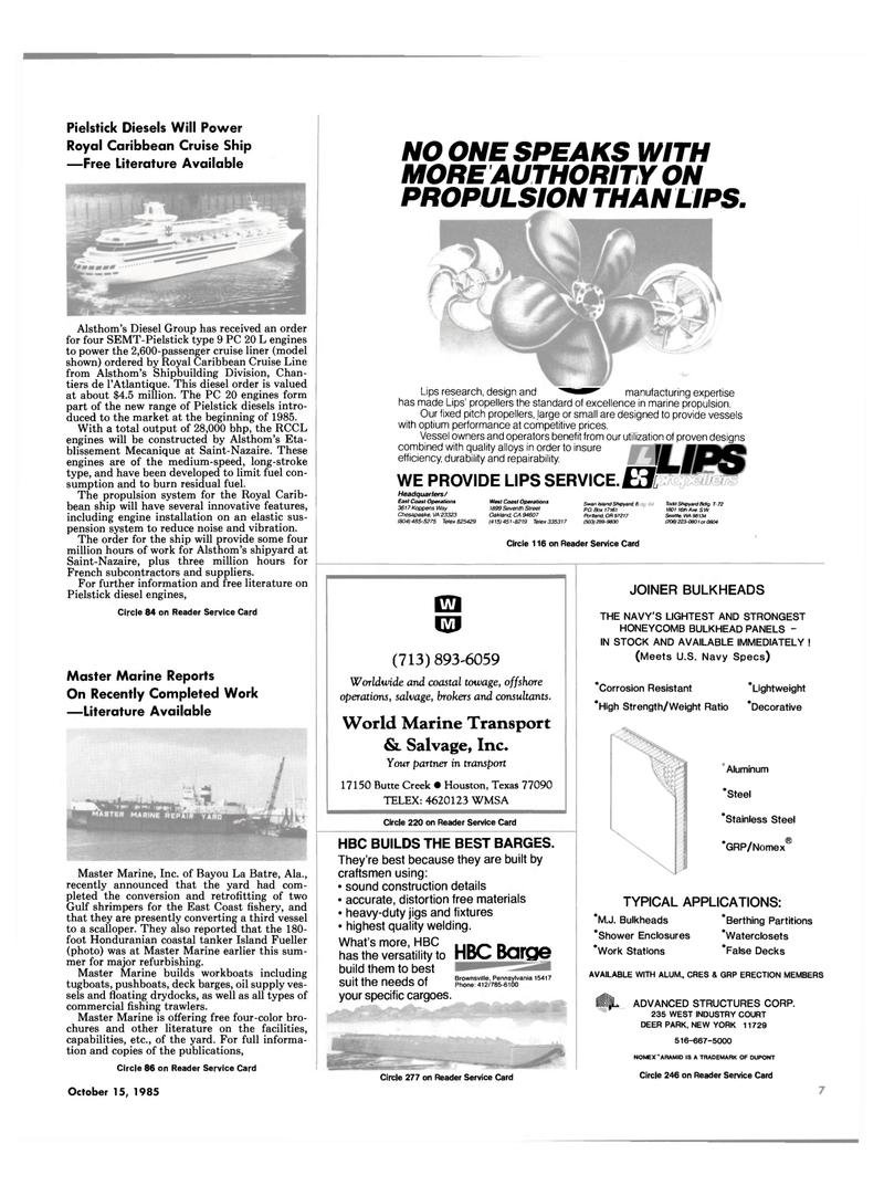 Maritime Reporter Magazine, page 5,  Oct 15, 1985 California