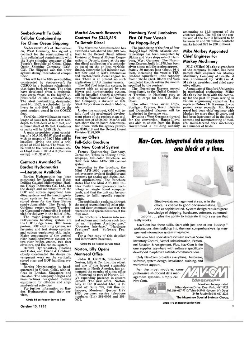 Maritime Reporter Magazine, page 7,  Oct 15, 1985 US East Coast