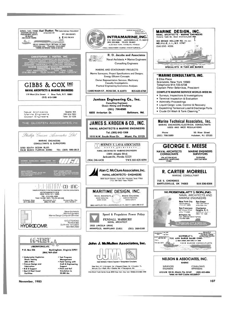 Maritime Reporter Magazine, page 101,  Nov 1985