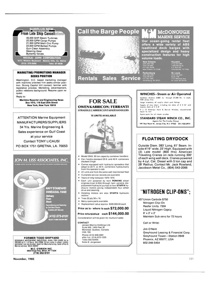 Maritime Reporter Magazine, page 113,  Nov 1985