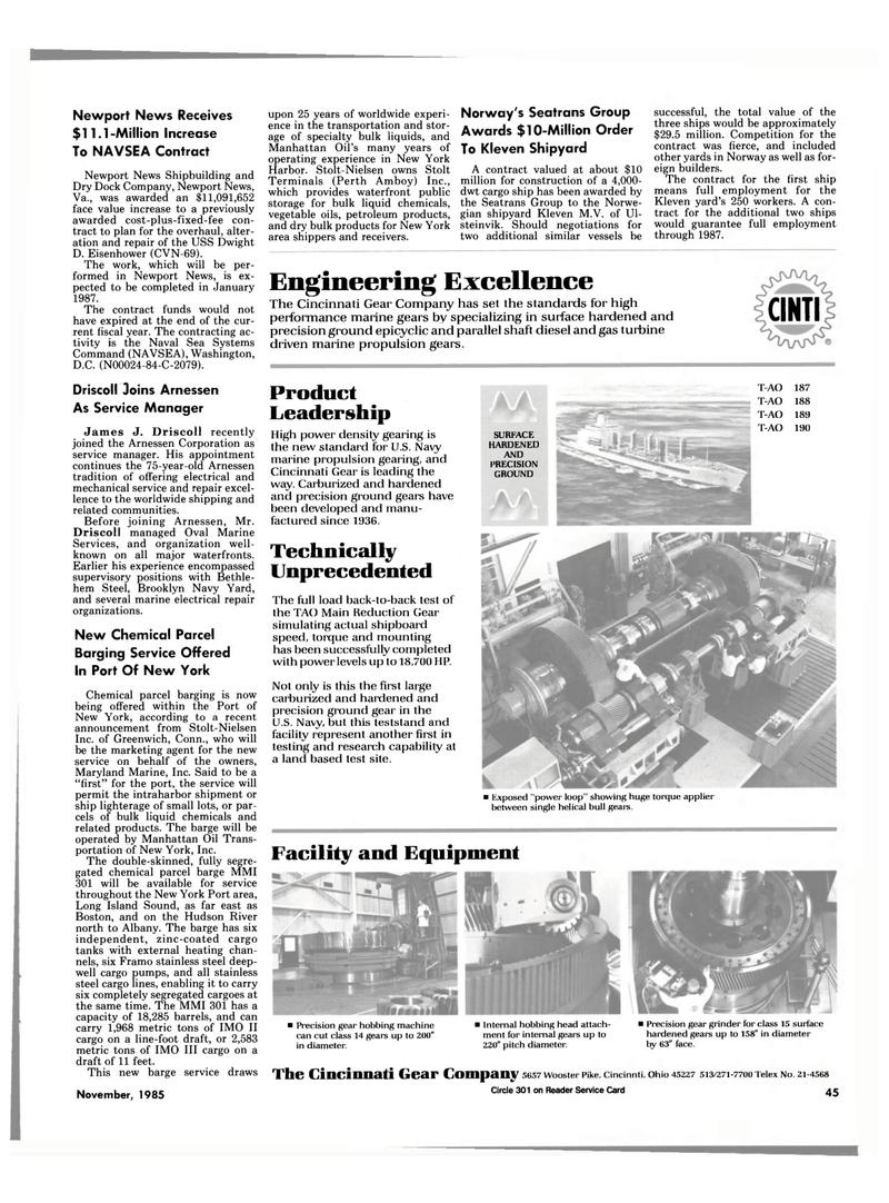 Maritime Reporter Magazine, page 39,  Nov 1985