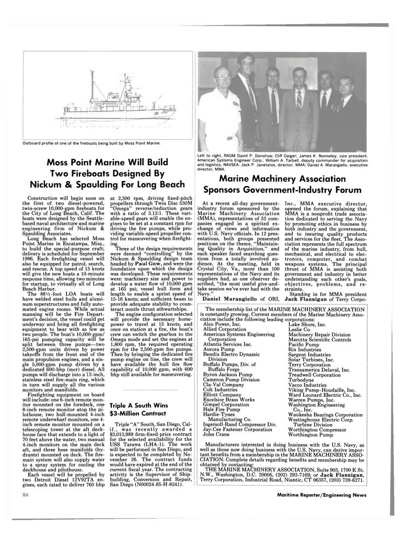 Maritime Reporter Magazine, page 80,  Nov 1985