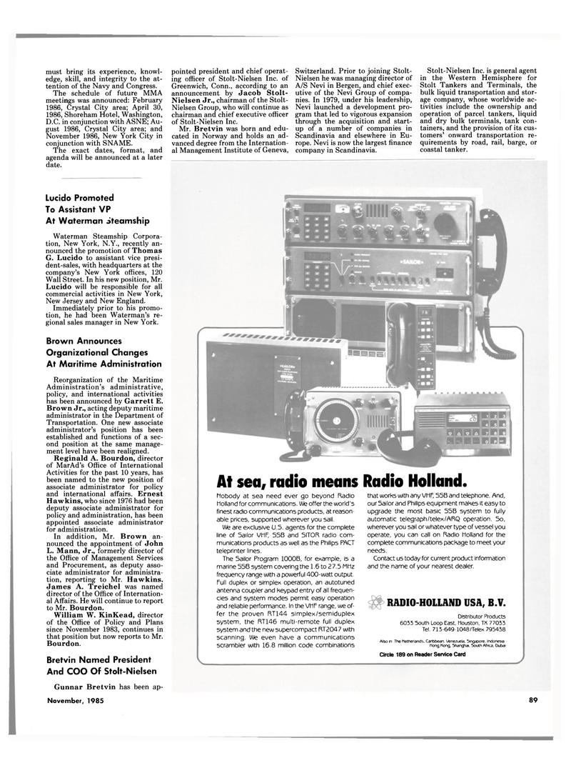 Maritime Reporter Magazine, page 83,  Nov 1985