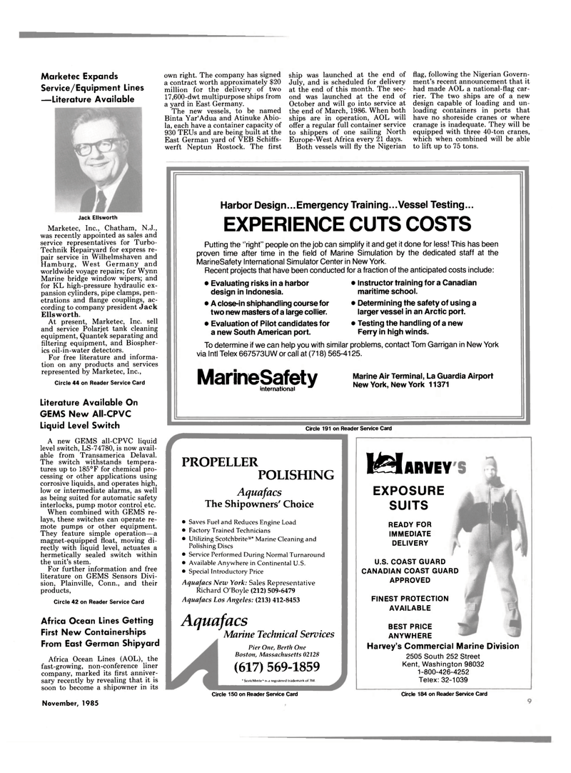 Maritime Reporter Magazine, page 7,  Nov 1985