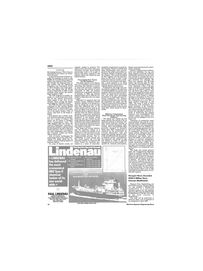 Maritime Reporter Magazine, page 50,  Jan 1986 Dwight D. Eisenhower