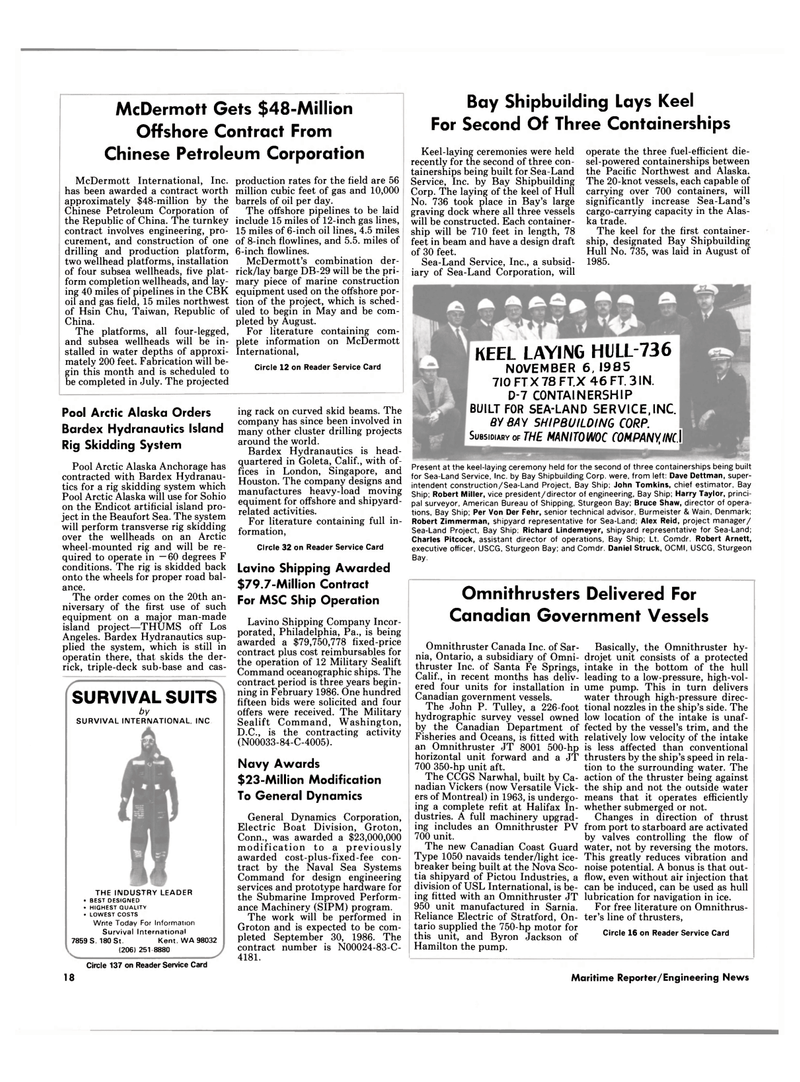 Maritime Reporter Magazine, page 16,  Jan 15, 1986 Washington