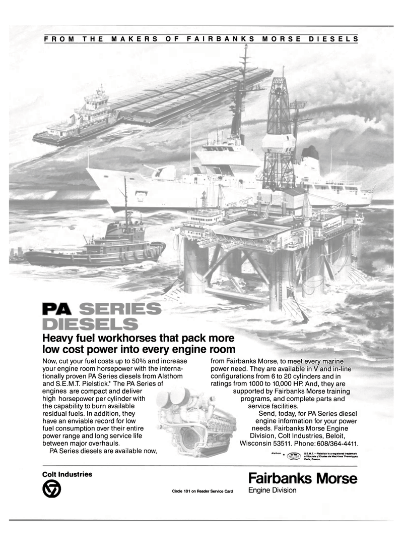 Maritime Reporter Magazine, page 2nd Cover,  Jan 15, 1986 Reader Service Card Engine Division