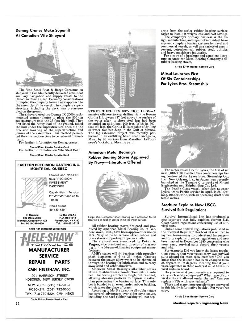 Maritime Reporter Magazine, page 30,  Jan 15, 1986 New York