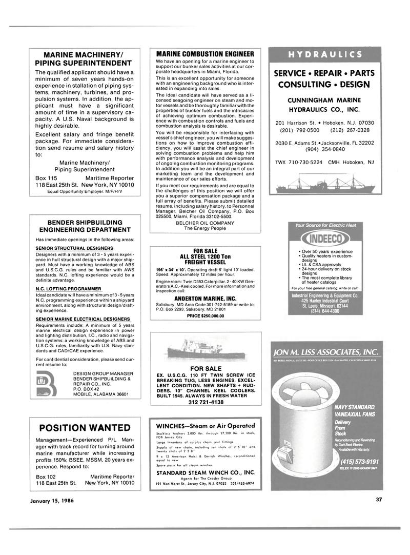 Maritime Reporter Magazine, page 35,  Jan 15, 1986 California