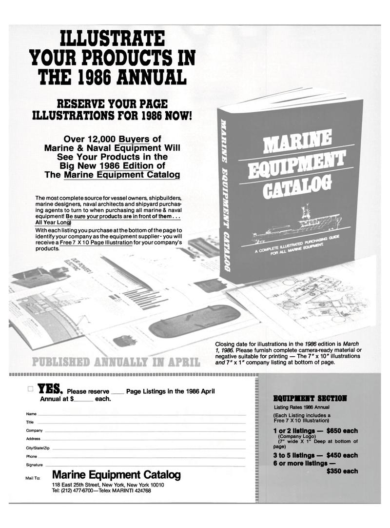 Maritime Reporter Magazine, page 40,  Jan 15, 1986 printing