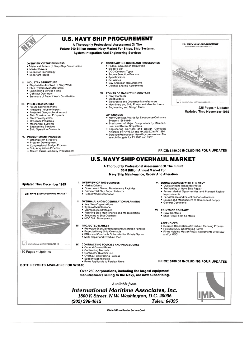 Maritime Reporter Magazine, page 3rd Cover,  Jan 15, 1986 equipment manufacturers