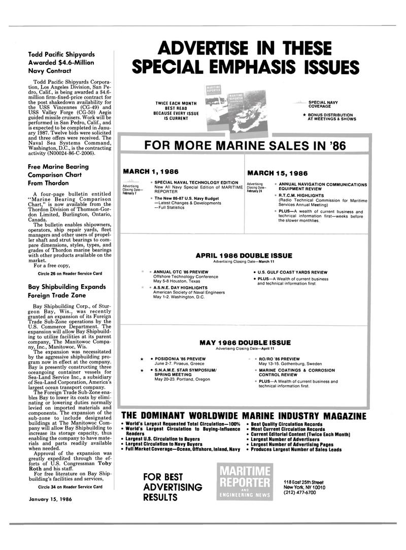Maritime Reporter Magazine, page 3,  Jan 15, 1986 Oregon
