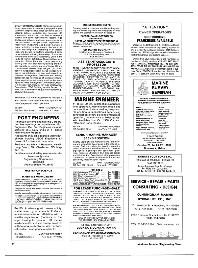 east coast, Maritime Reporter Magazine September 1986 #70