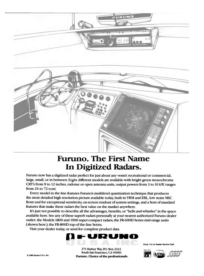 Maritime Reporter Magazine, page 9,  Dec 1986 Furuno U SA Inc.