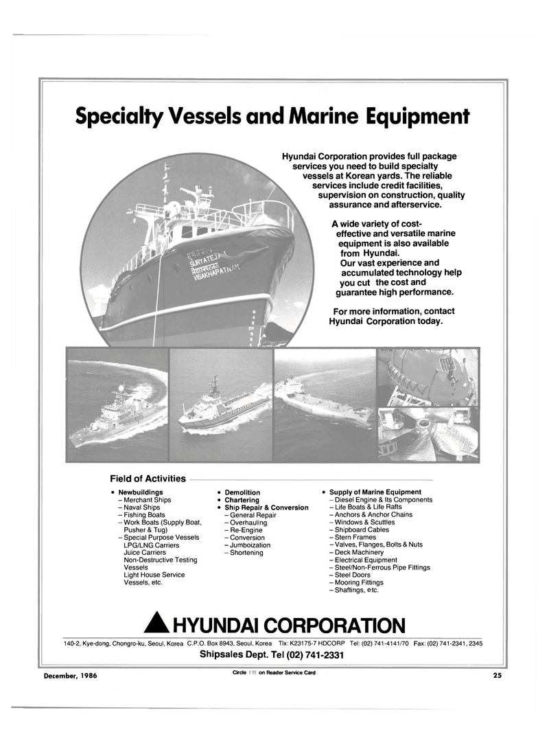 Maritime Reporter Magazine, page 23,  Dec 1986 supervision on construction