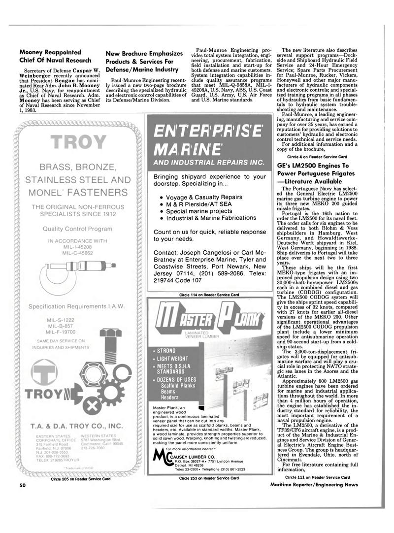 Maritime Reporter Magazine, page 48,  Dec 1986 Caspar W. Weinberger