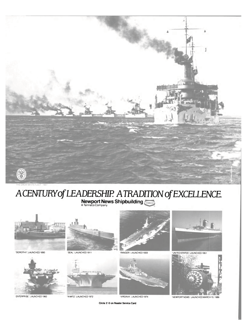 Maritime Reporter Magazine, page 50,  Dec 1986 Newport News Shipbuilding A Tenneco Company