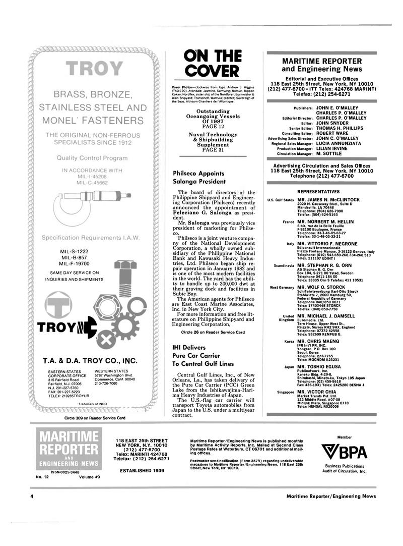 Maritime Reporter Magazine, page 2,  Dec 1987