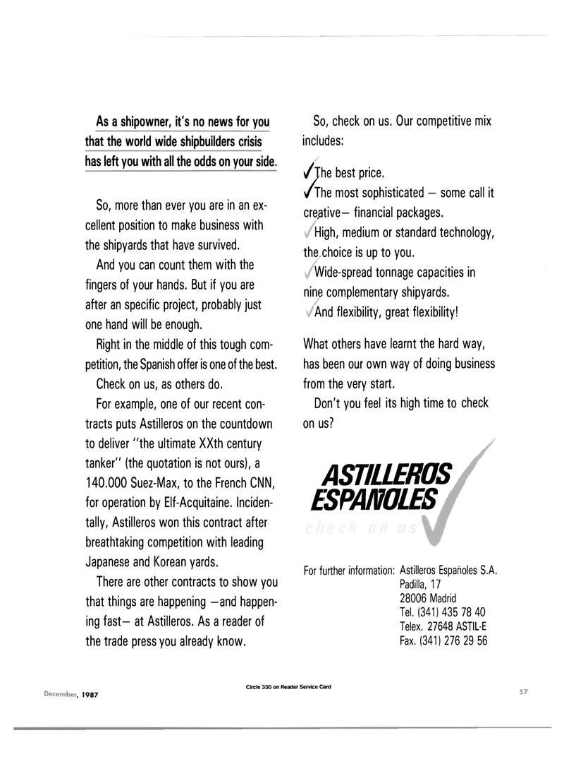 Maritime Reporter Magazine, page 45,  Dec 1987