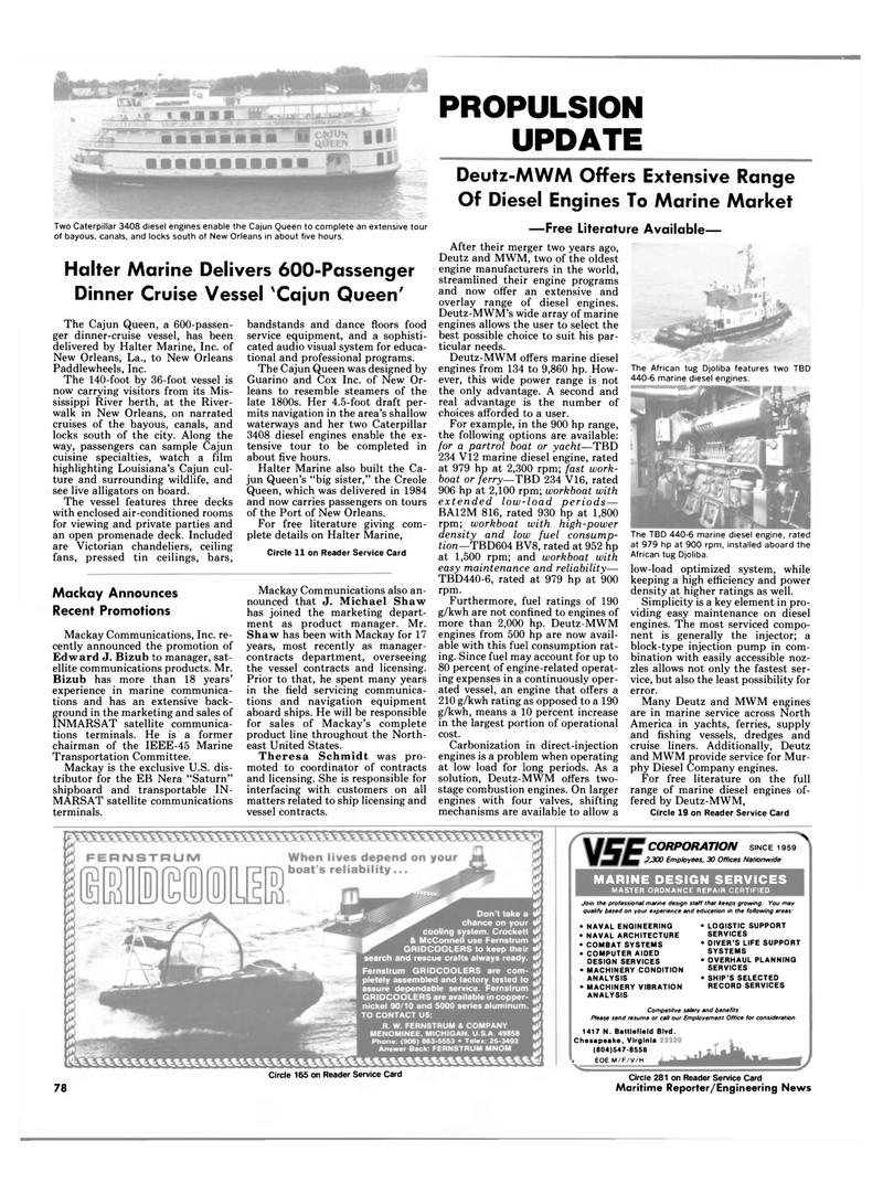 Maritime Reporter Magazine, page 64,  Dec 1987 Virginia