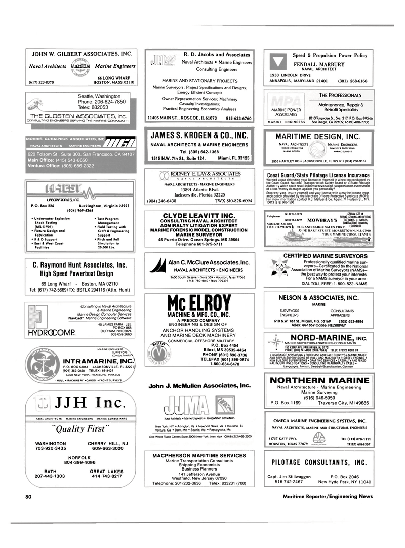Maritime Reporter Magazine, page 66,  Dec 1987
