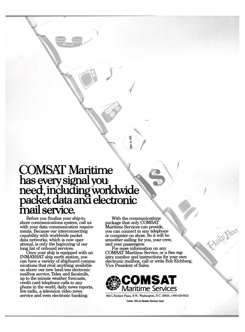 2nd Cover Maritime Reporter Magazine Page 1 Feb 1989 COMSAT Service